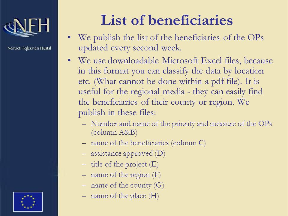 List of beneficiaries We publish the list of the beneficiaries of the OPs updated every second week.