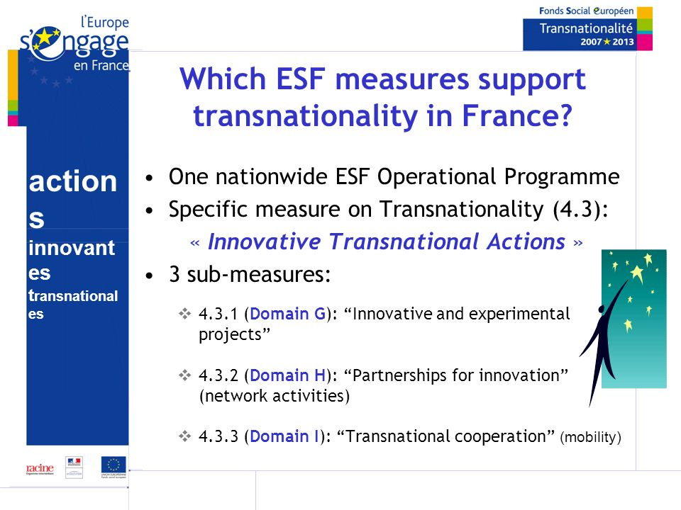 action s innovant es t ransnational es Which ESF measures support transnationality in France.