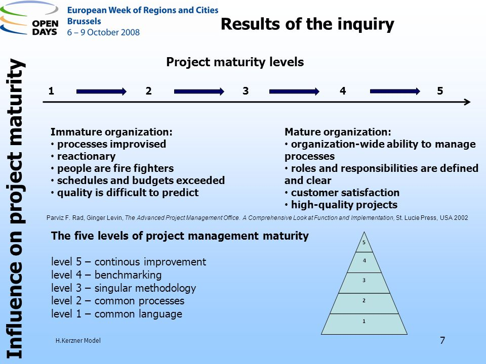 7 Influence on project maturity Results of the inquiry Immature organization: processes improvised reactionary people are fire fighters schedules and budgets exceeded quality is difficult to predict Mature organization: organization-wide ability to manage processes roles and responsibilities are defined and clear customer satisfaction high-quality projects Project maturity levels Parviz F.
