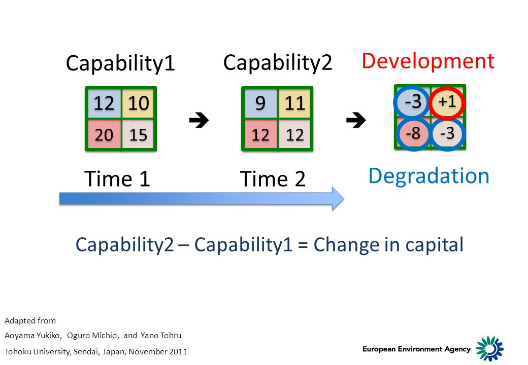 -3 +1 -3 -8 Capability2 – Capability1 = Change in capital Time 1 Time 2 Capability1 Capability2 Development Degradation 12 10 20 15 9 9 11 12 Adapted from Aoyama Yukiko, Oguro Michio, and Yano Tohru Tohoku University, Sendai, Japan, November 2011