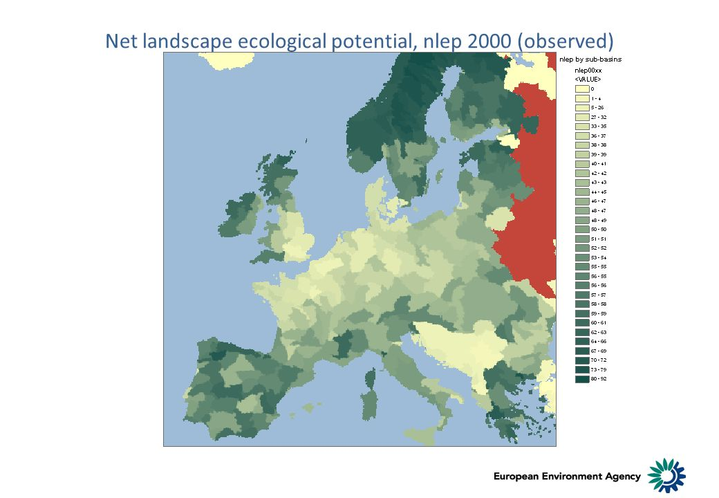 Net landscape ecological potential, nlep 2000 (observed)