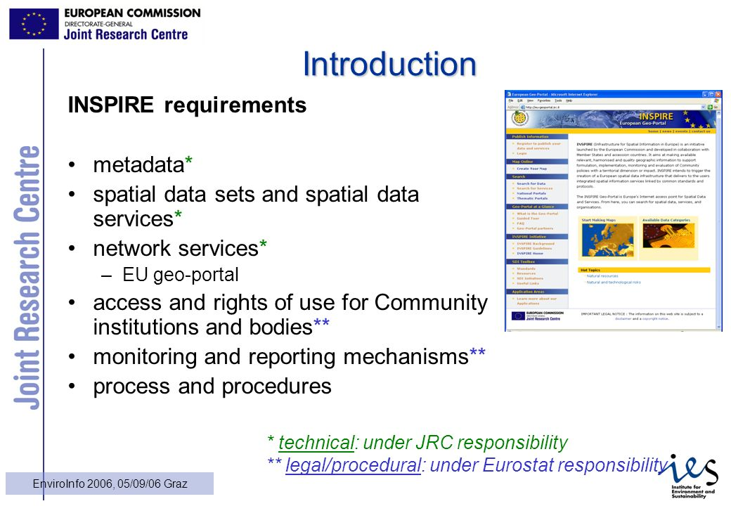 6 EnviroInfo 2006, 05/09/06 Graz Introduction INSPIRE requirements metadata* spatial data sets and spatial data services* network services* –EU geo-portal access and rights of use for Community institutions and bodies** monitoring and reporting mechanisms** process and procedures * technical: under JRC responsibility ** legal/procedural: under Eurostat responsibility