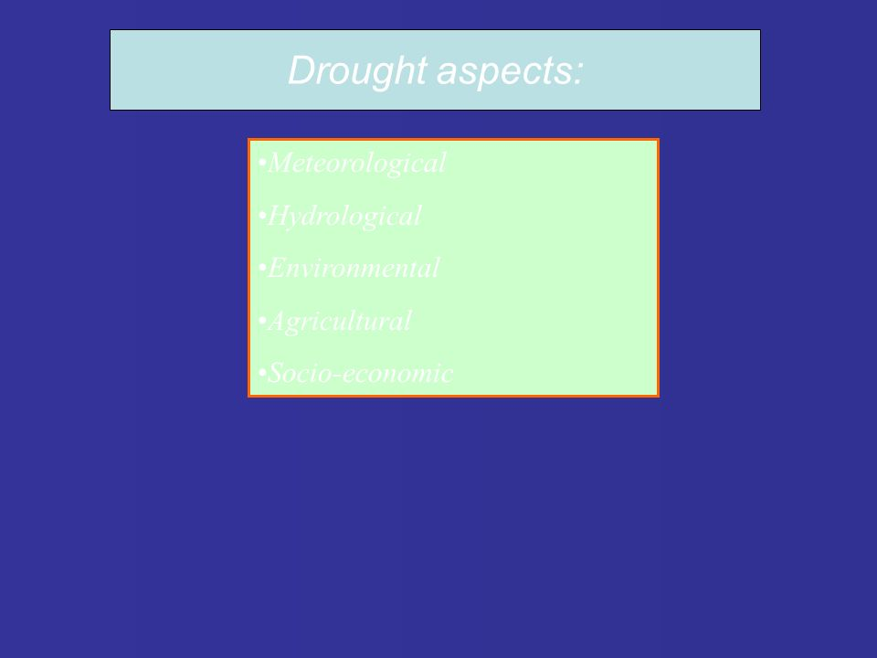 Meteorological Hydrological Environmental Agricultural Socio-economic Drought aspects: