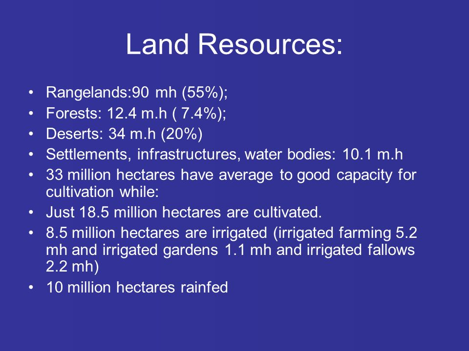 Land Resources: Rangelands:90 mh (55%); Forests: 12.4 m.h ( 7.4%); Deserts: 34 m.h (20%) Settlements, infrastructures, water bodies: 10.1 m.h 33 million hectares have average to good capacity for cultivation while: Just 18.5 million hectares are cultivated.