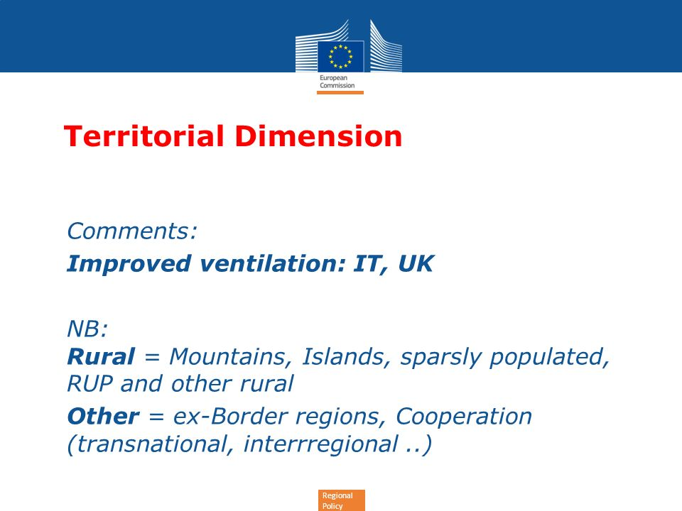 Regional Policy Territorial Dimension Comments: -Improved ventilation: IT, UK NB: Rural = Mountains, Islands, sparsly populated, RUP and other rural Other = ex-Border regions, Cooperation (transnational, interrregional..)