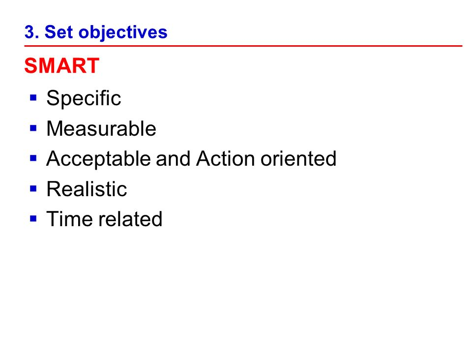 Specific Measurable Acceptable and Action oriented Realistic Time related 3. Set objectives SMART