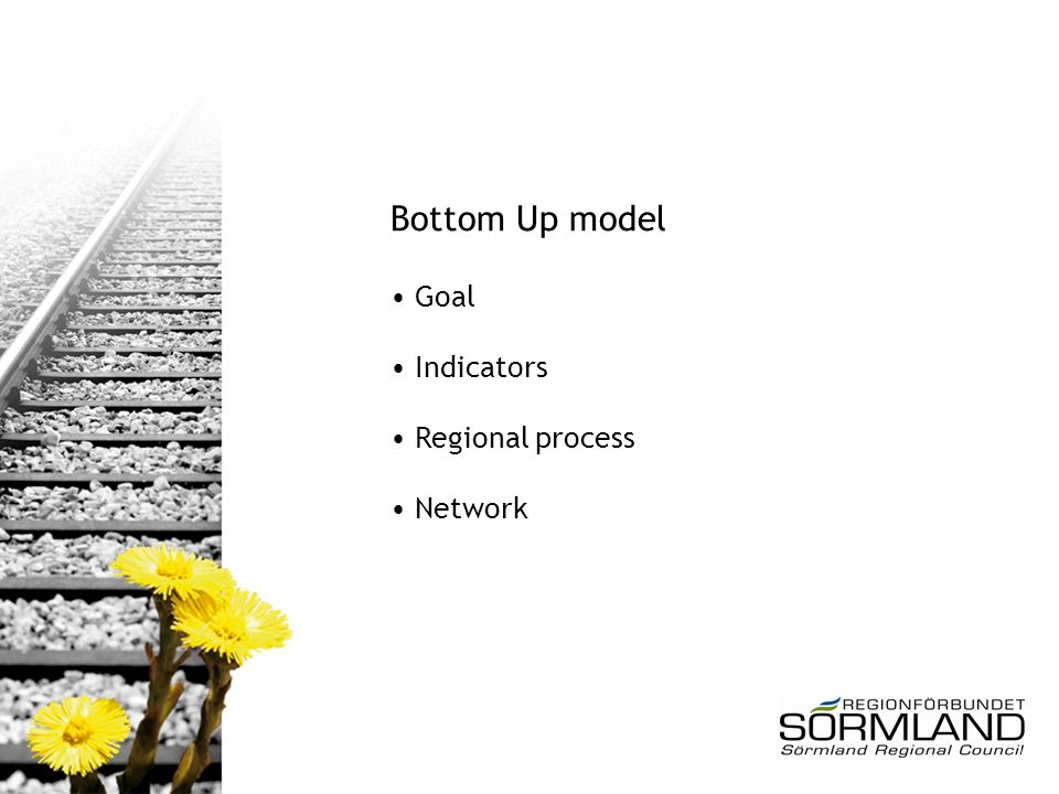 Bottom Up model Goal Indicators Regional process Network