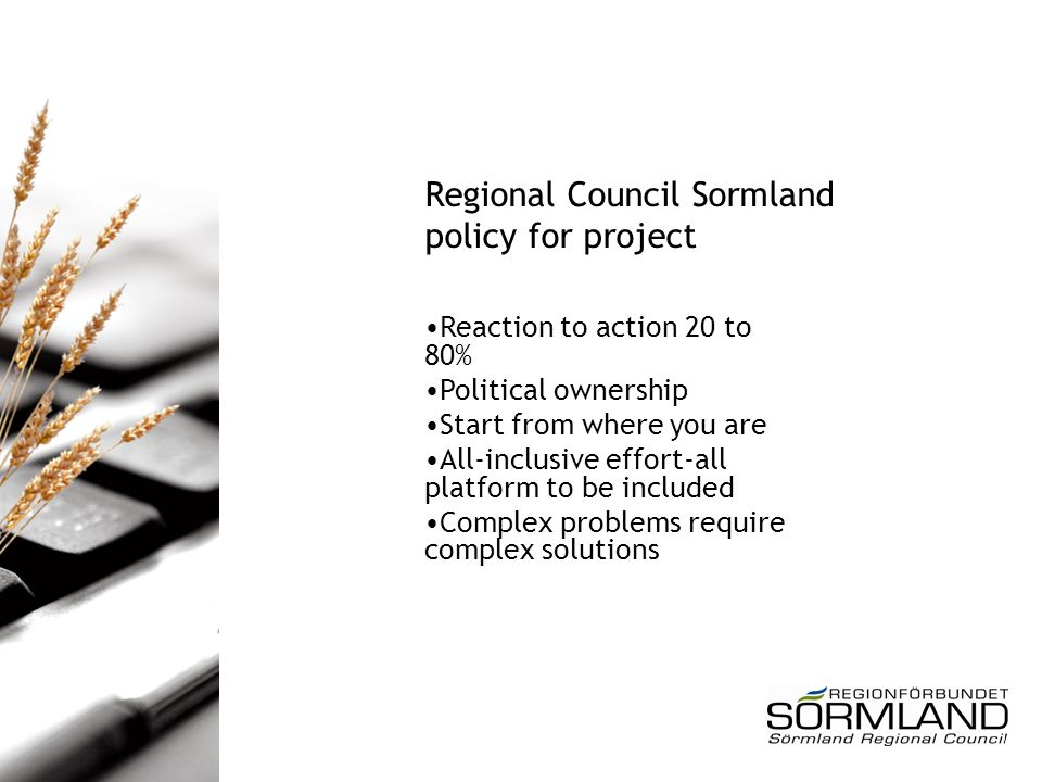 Regional Council Sormland policy for project Reaction to action 20 to 80% Political ownership Start from where you are All-inclusive effort-all platform to be included Complex problems require complex solutions