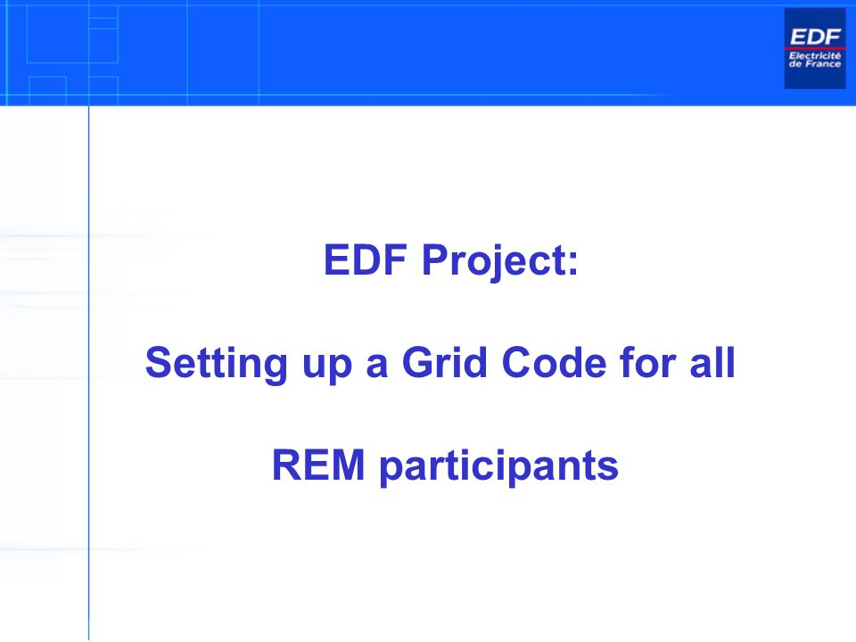 EDF Project: Setting up a Grid Code for all REM participants
