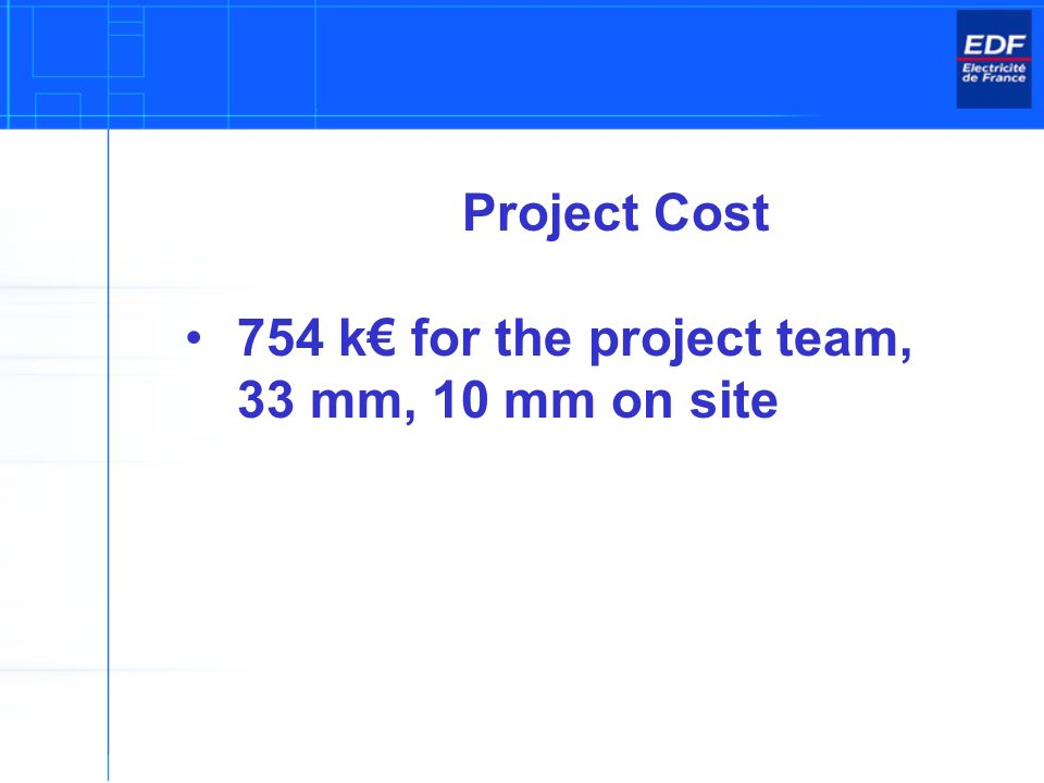 Project Cost 754 k for the project team, 33 mm, 10 mm on site