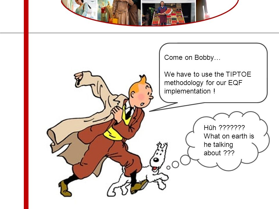 Come on Bobby… We have to use the TIPTOE methodology for our EQF implementation .