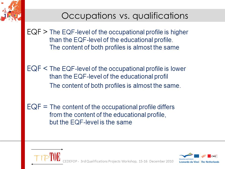 EQF > The EQF-level of the occupational profile is higher than the EQF-level of the educational profile.