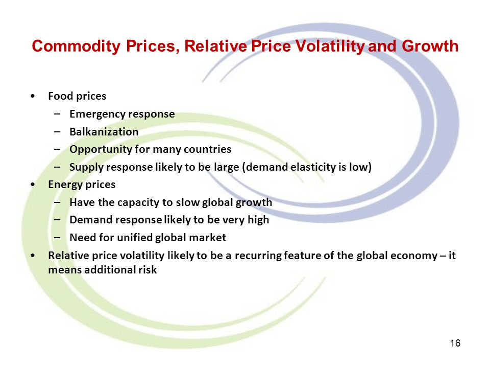 Commodity Prices, Relative Price Volatility and Growth Food prices –Emergency response –Balkanization –Opportunity for many countries –Supply response likely to be large (demand elasticity is low) Energy prices –Have the capacity to slow global growth –Demand response likely to be very high –Need for unified global market Relative price volatility likely to be a recurring feature of the global economy – it means additional risk 16