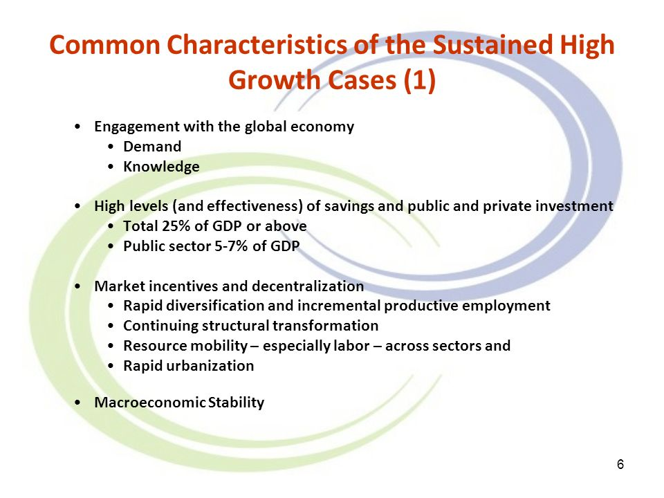 6 Common Characteristics of the Sustained High Growth Cases (1) Engagement with the global economy Demand Knowledge High levels (and effectiveness) of savings and public and private investment Total 25% of GDP or above Public sector 5-7% of GDP Market incentives and decentralization Rapid diversification and incremental productive employment Continuing structural transformation Resource mobility – especially labor – across sectors and Rapid urbanization Macroeconomic Stability