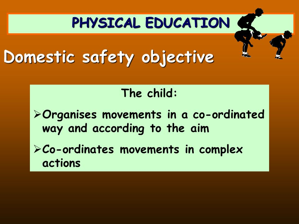 PHYSICAL EDUCATION The child: Organises movements in a co-ordinated way and according to the aim Co-ordinates movements in complex actions Domestic safety objective