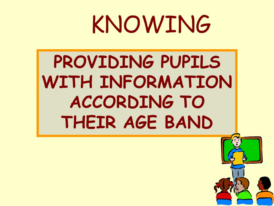 KNOWING PROVIDING PUPILS WITH INFORMATION ACCORDING TO THEIR AGE BAND