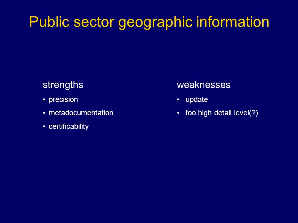 strengths precision metadocumentation certificability Public sector geographic information weaknesses update too high detail level( )