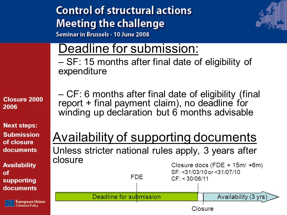 Deadline for submission Deadline for submission: – SF: 15 months after final date of eligibility of expenditure – CF: 6 months after final date of eligibility (final report + final payment claim), no deadline for winding up declaration but 6 months advisable Availability of supporting documents Unless stricter national rules apply, 3 years after closure Closure 2000 2006 Next steps: Submission of closure documents Availability of supporting documents FDE Closure docs (FDE + 15m/ +6m) SF: <31/03/10 or <31/07/10 CF: < 30/06/11 Availability (3 yrs) Closure