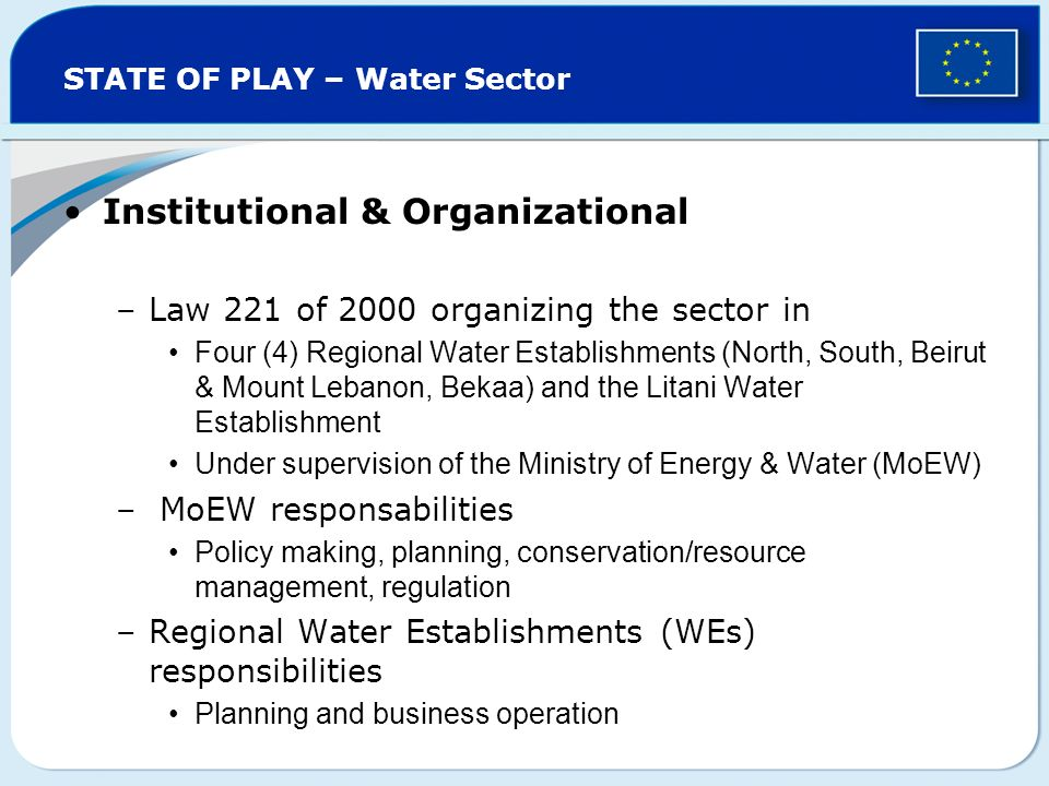 STATE OF PLAY – Water Sector Institutional & Organizational –Law 221 of 2000 organizing the sector in Four (4) Regional Water Establishments (North, South, Beirut & Mount Lebanon, Bekaa) and the Litani Water Establishment Under supervision of the Ministry of Energy & Water (MoEW) – MoEW responsabilities Policy making, planning, conservation/resource management, regulation –Regional Water Establishments (WEs) responsibilities Planning and business operation