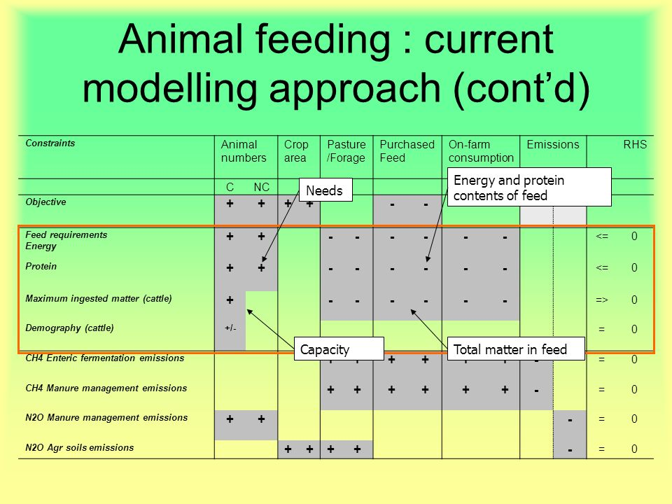 Constraints Animal numbers Crop area Pasture /Forage Purchased Feed On-farm consumption EmissionsRHS CNC CH4N2O Objective ++++---- Feed requirements Energy ++------ <=0 Protein ++------ <=0 Maximum ingested matter (cattle) +------ =>0 Demography (cattle)+/- =0 CH4 Enteric fermentation emissions ++++++- =0 CH4 Manure management emissions ++++++- =0 N2O Manure management emissions ++- =0 N2O Agr soils emissions ++++- =0 Animal feeding : current modelling approach (contd) Needs Energy and protein contents of feed CapacityTotal matter in feed