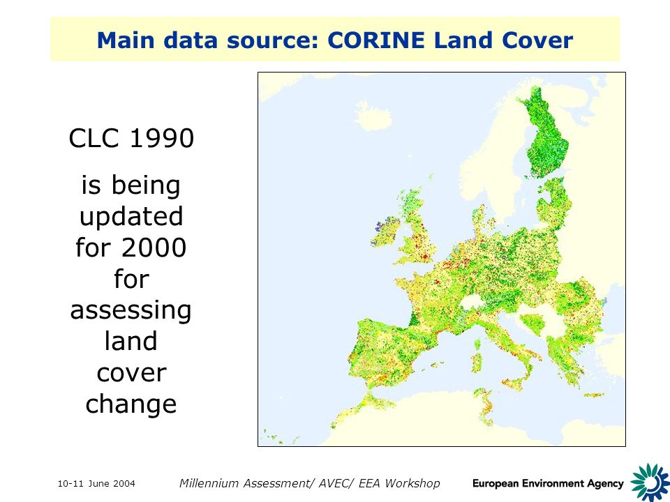 10-11 June 2004 Millennium Assessment/ AVEC/ EEA Workshop Main data source: CORINE Land Cover CLC 1990 is being updated for 2000 for assessing land cover change