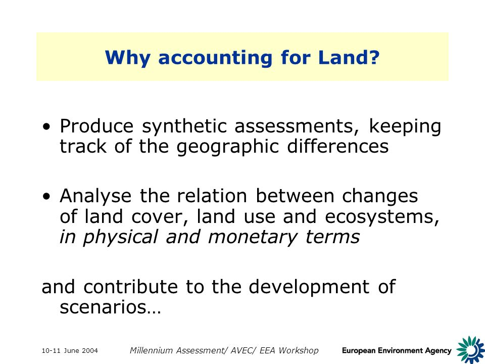10-11 June 2004 Millennium Assessment/ AVEC/ EEA Workshop Why accounting for Land.