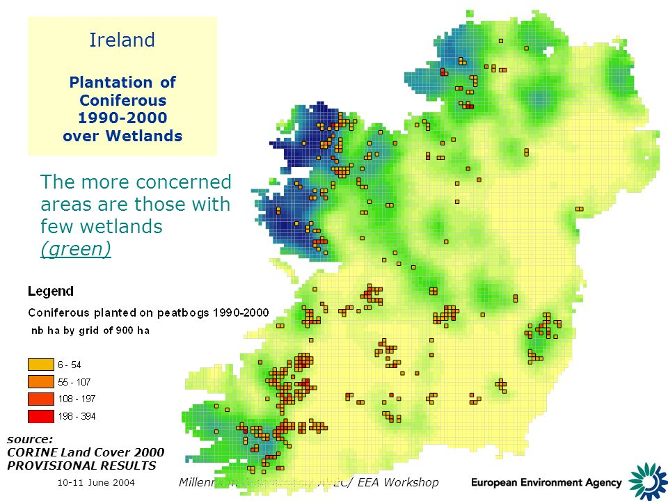 10-11 June 2004 Millennium Assessment/ AVEC/ EEA Workshop Ireland Plantation of Coniferous 1990-2000 over Wetlands The more concerned areas are those with few wetlands (green) source: CORINE Land Cover 2000 PROVISIONAL RESULTS