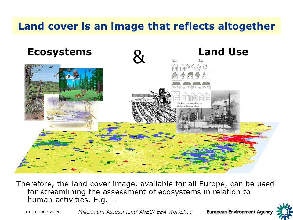 10-11 June 2004 Millennium Assessment/ AVEC/ EEA Workshop Land cover is an image that reflects altogether Therefore, the land cover image, available for all Europe, can be used for streamlining the assessment of ecosystems in relation to human activities.