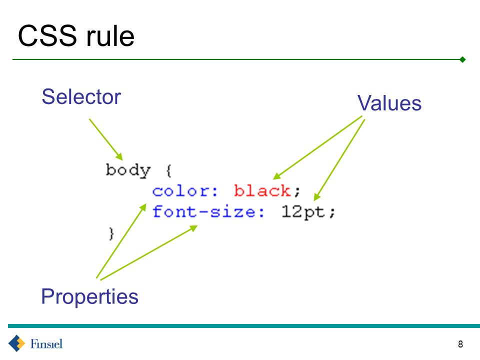 8 CSS rule Selector Values Properties
