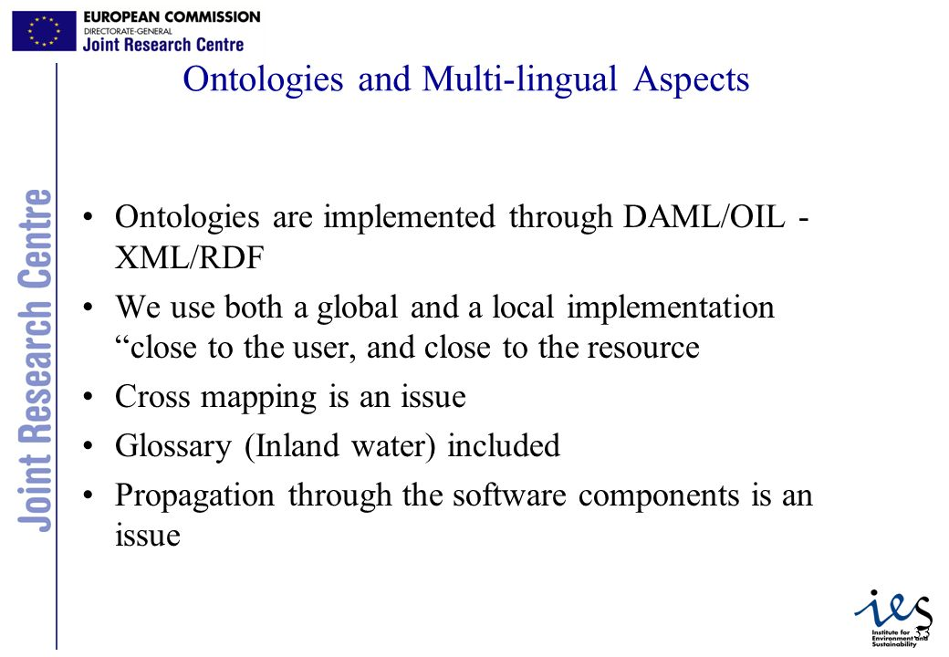 33 Ontologies and Multi-lingual Aspects Ontologies are implemented through DAML/OIL - XML/RDF We use both a global and a local implementation close to the user, and close to the resource Cross mapping is an issue Glossary (Inland water) included Propagation through the software components is an issue