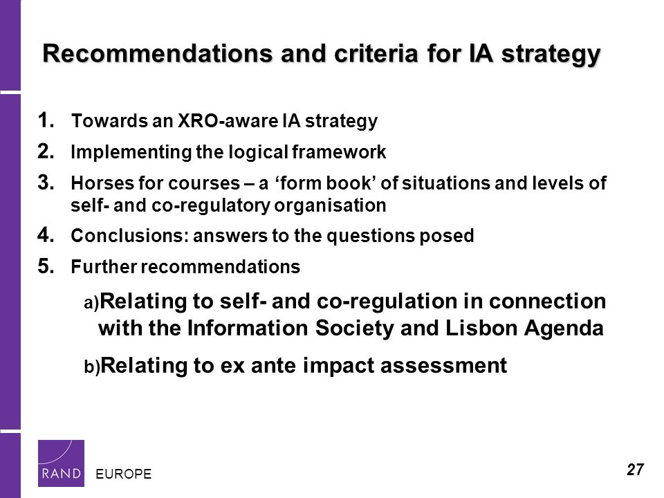 27 EUROPE Recommendations and criteria for IA strategy 1.