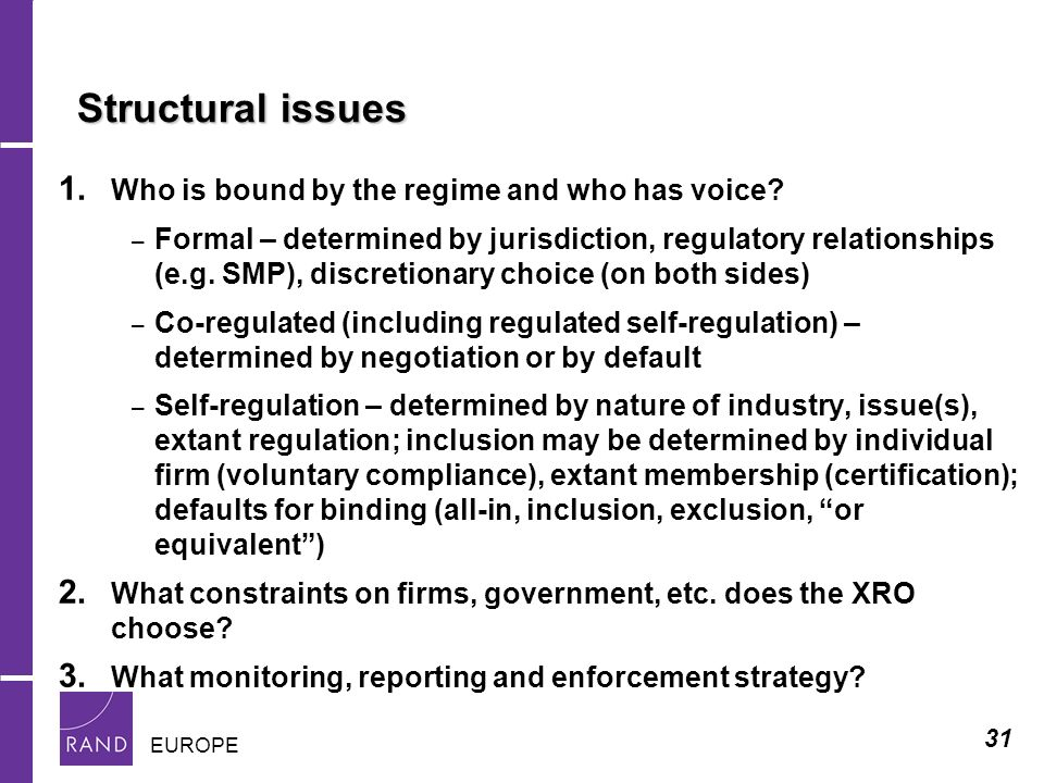 31 EUROPE Structural issues Structural issues 1. Who is bound by the regime and who has voice.
