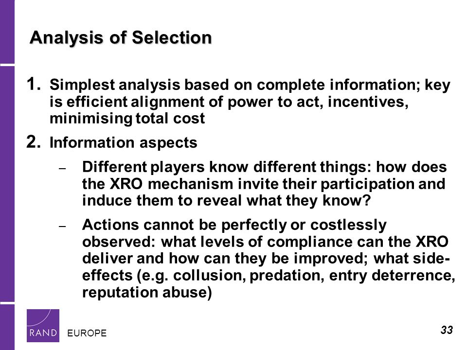 33 EUROPE Analysis of Selection 1.