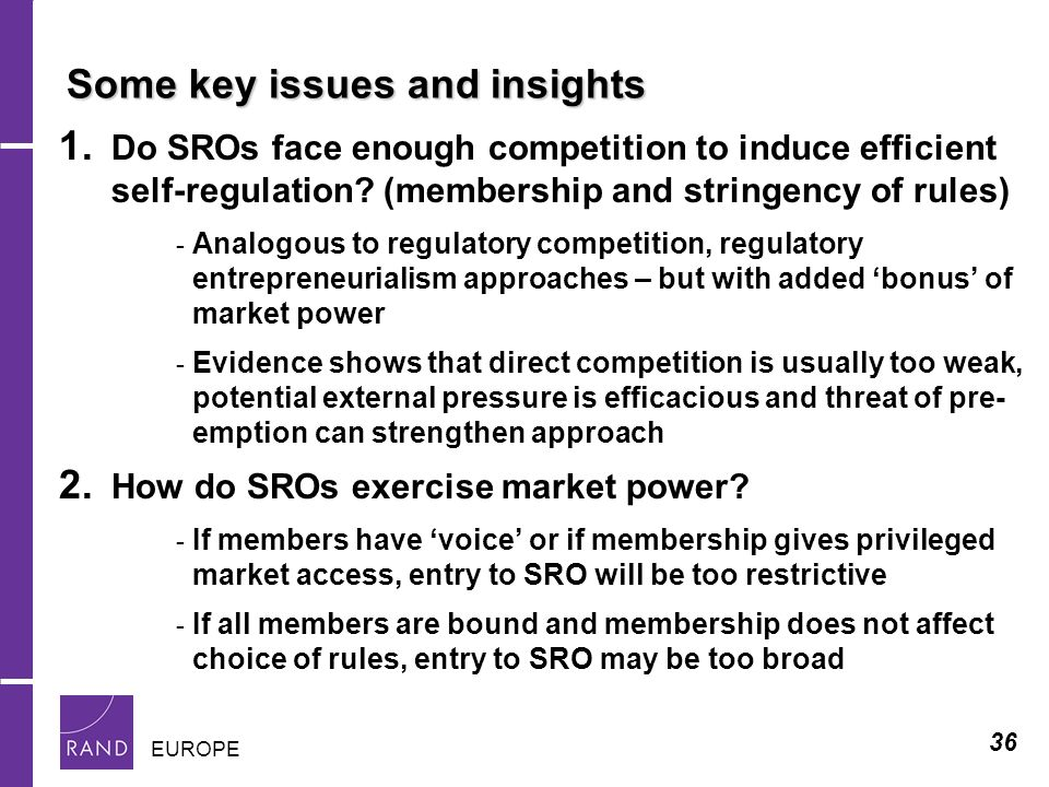 36 EUROPE Some key issues and insights 1.