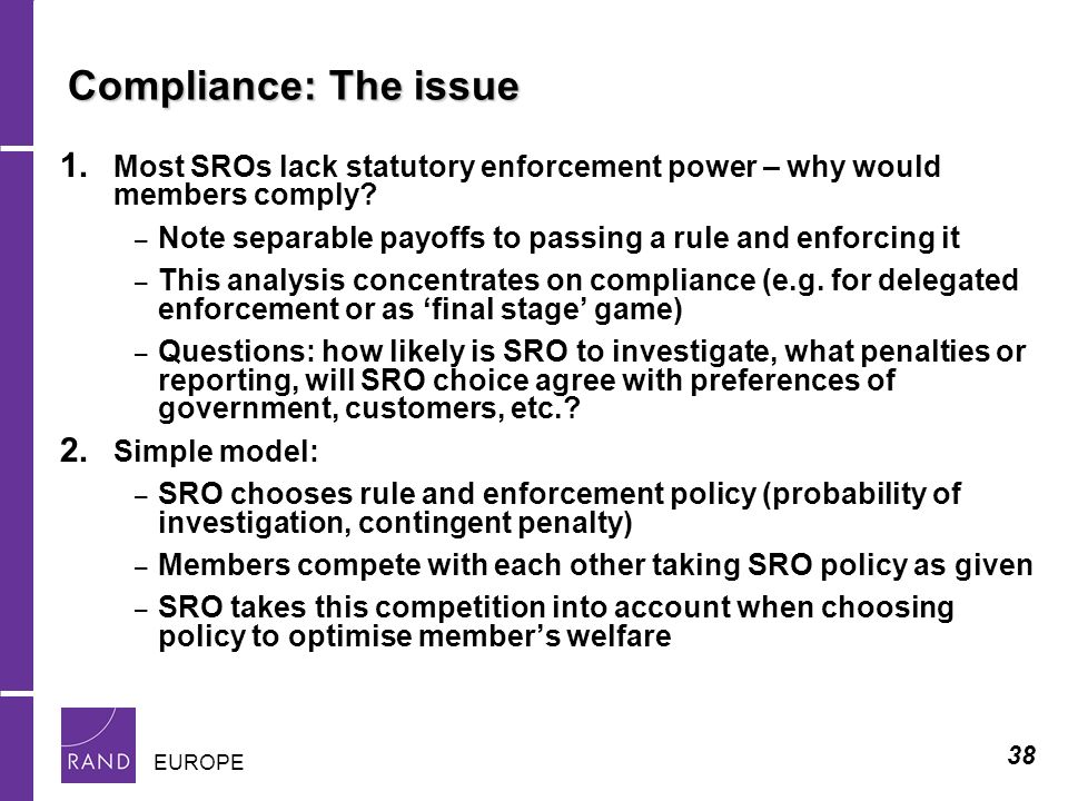 38 EUROPE Compliance: The issue 1.