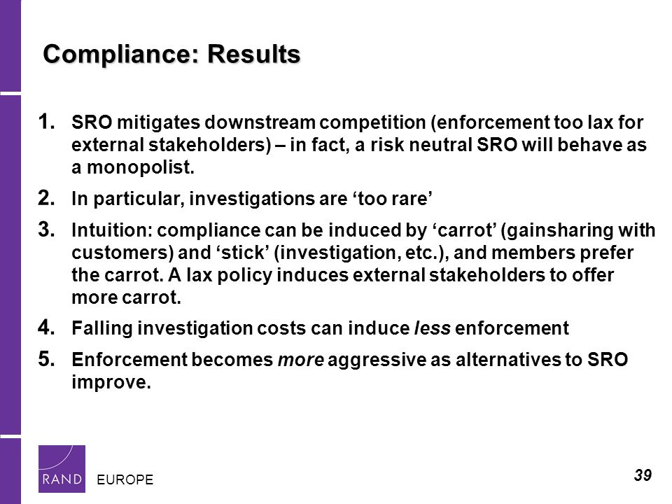 39 EUROPE Compliance: Results 1.
