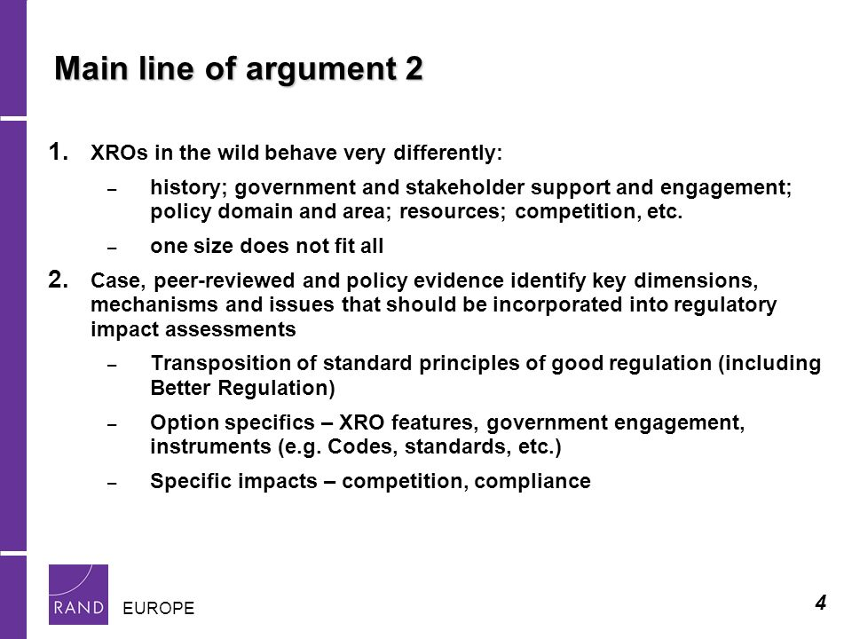 4 EUROPE Main line of argument 2 1.