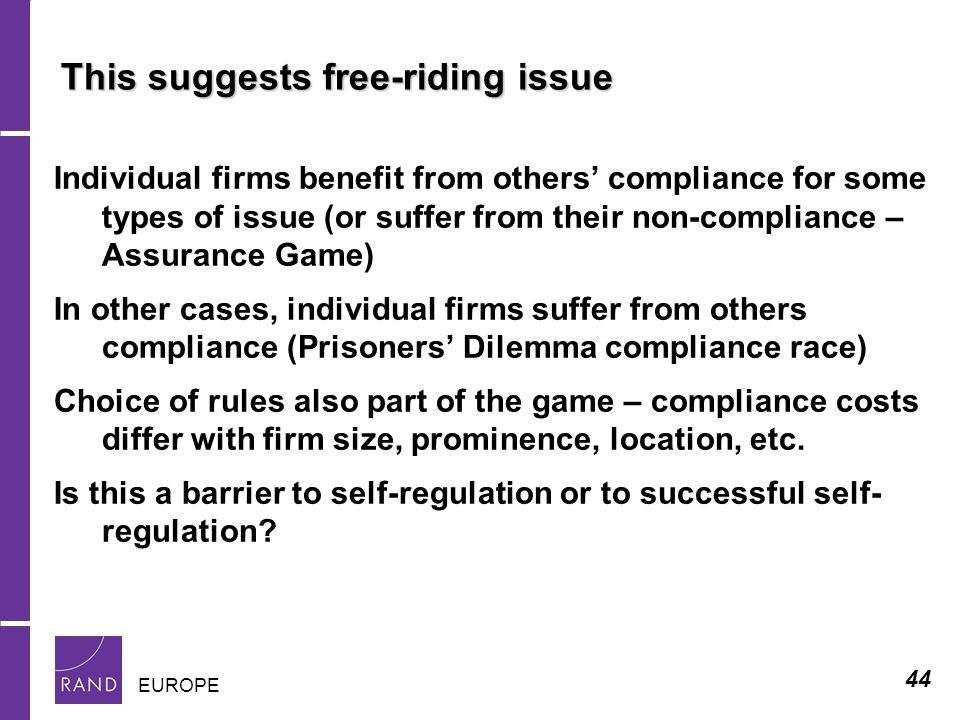 44 EUROPE This suggests free-riding issue Individual firms benefit from others compliance for some types of issue (or suffer from their non-compliance – Assurance Game) In other cases, individual firms suffer from others compliance (Prisoners Dilemma compliance race) Choice of rules also part of the game – compliance costs differ with firm size, prominence, location, etc.