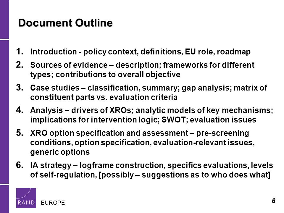 6 EUROPE Document Outline 1. Introduction - policy context, definitions, EU role, roadmap 2.