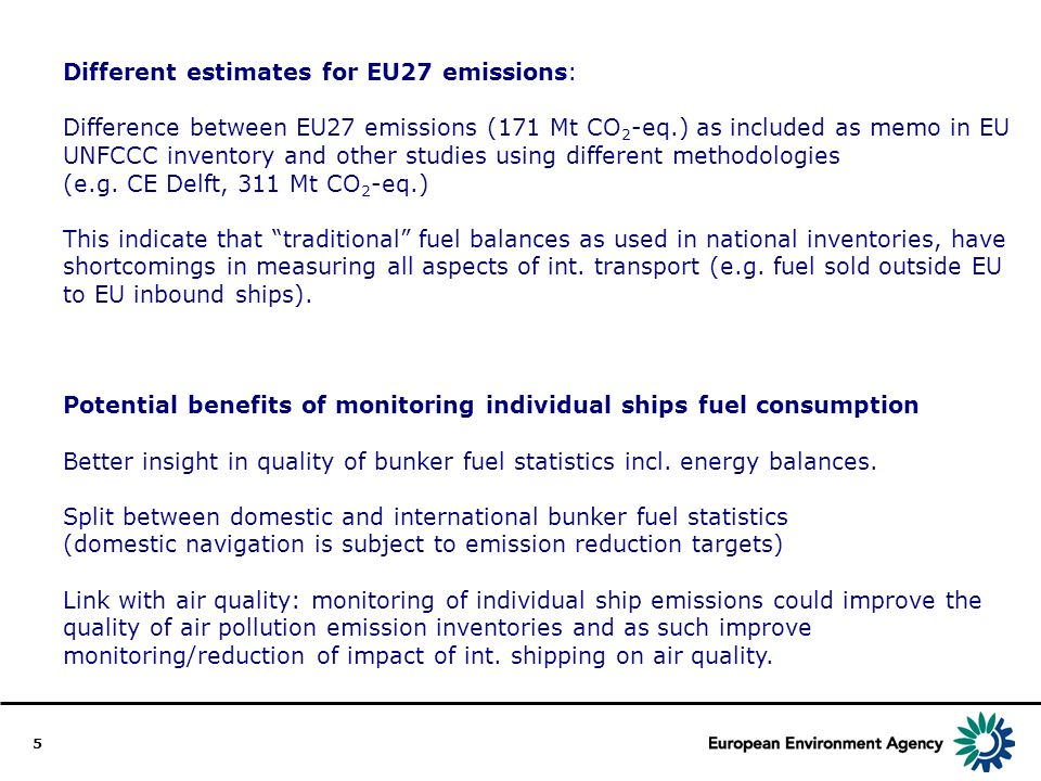 5 Different estimates for EU27 emissions: Difference between EU27 emissions (171 Mt CO 2 -eq.) as included as memo in EU UNFCCC inventory and other studies using different methodologies (e.g.