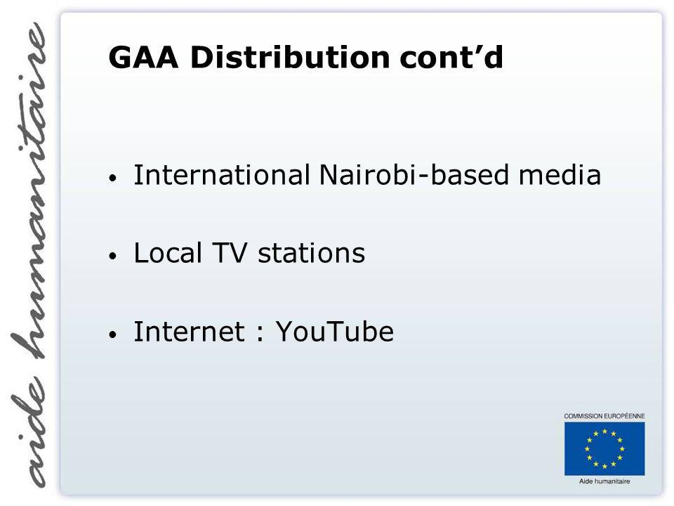 GAA Distribution contd International Nairobi-based media Local TV stations Internet : YouTube