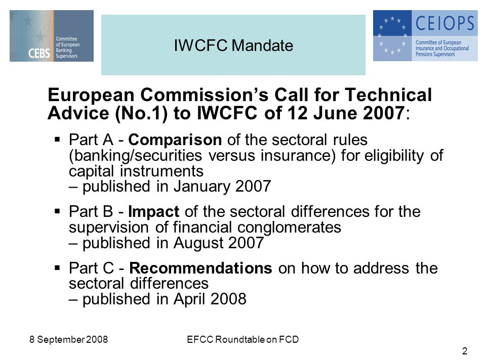 8 September 2008EFCC Roundtable on FCD 2 European Commissions Call for Technical Advice (No.1) to IWCFC of 12 June 2007: Part A - Comparison of the sectoral rules (banking/securities versus insurance) for eligibility of capital instruments – published in January 2007 Part B - Impact of the sectoral differences for the supervision of financial conglomerates – published in August 2007 Part C - Recommendations on how to address the sectoral differences – published in April 2008 IWCFC Mandate