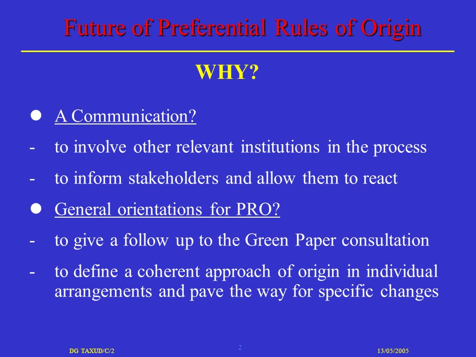 2 DG TAXUD/C/213/05/2005 Future of Preferential Rules of Origin A Communication.