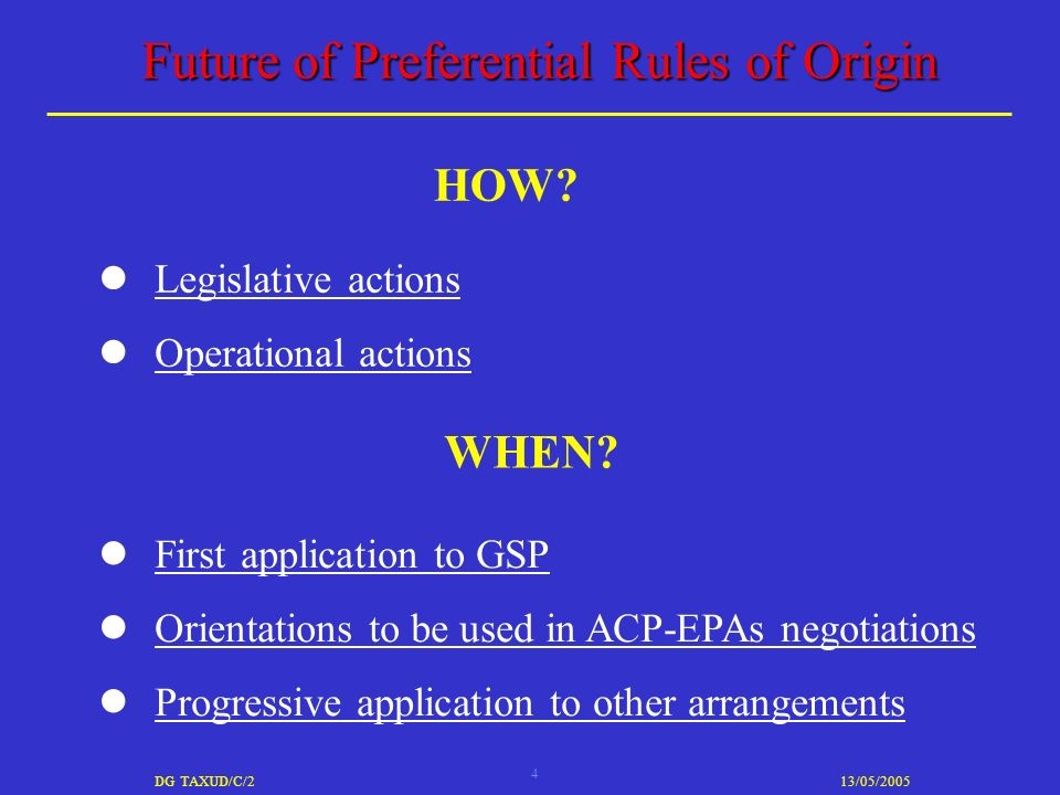 4 DG TAXUD/C/213/05/2005 Future of Preferential Rules of Origin Legislative actions Operational actions HOW.