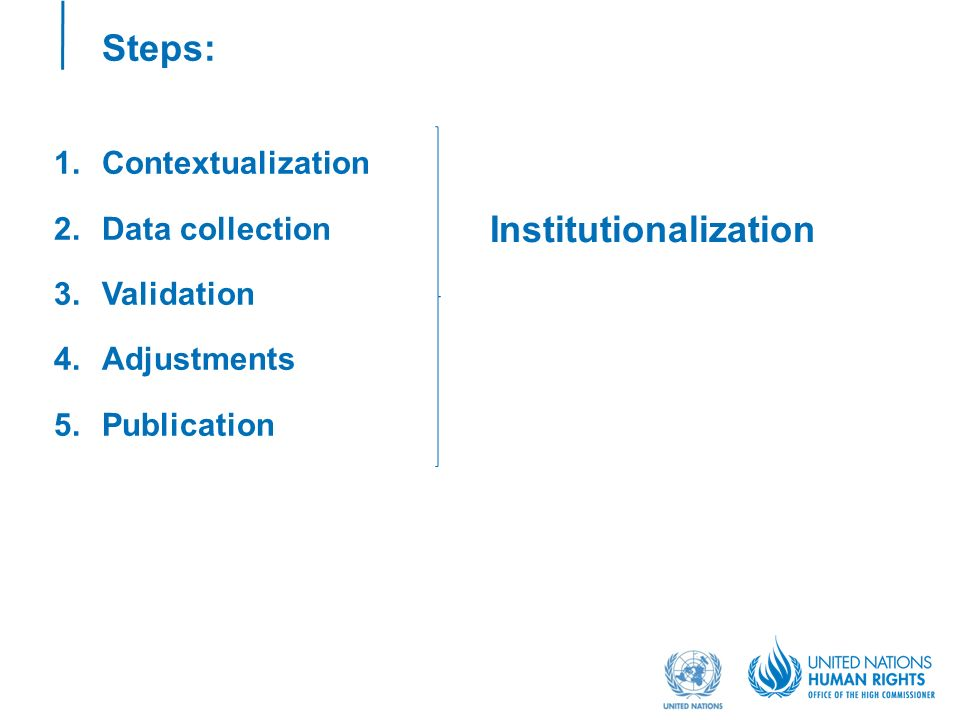 Steps: 1.Contextualization 2.Data collection 3.Validation 4.Adjustments 5.Publication Institutionalization