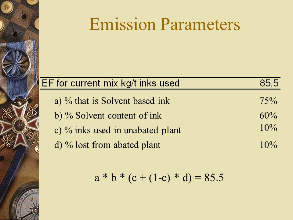 Emission Parameters a) % that is Solvent based ink b) % Solvent content of ink c) % inks used in unabated plant d) % lost from abated plant 75% 60% 10% a * b * (c + (1-c) * d) = 85.5