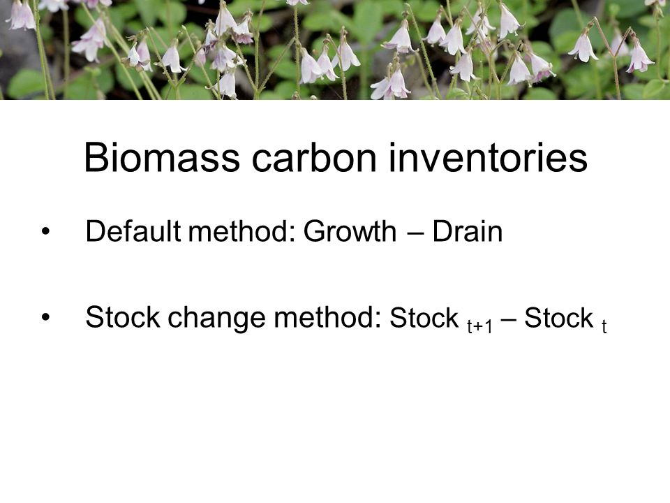 Biomass carbon inventories Default method: Growth – Drain Stock change method: Stock t+1 – Stock t
