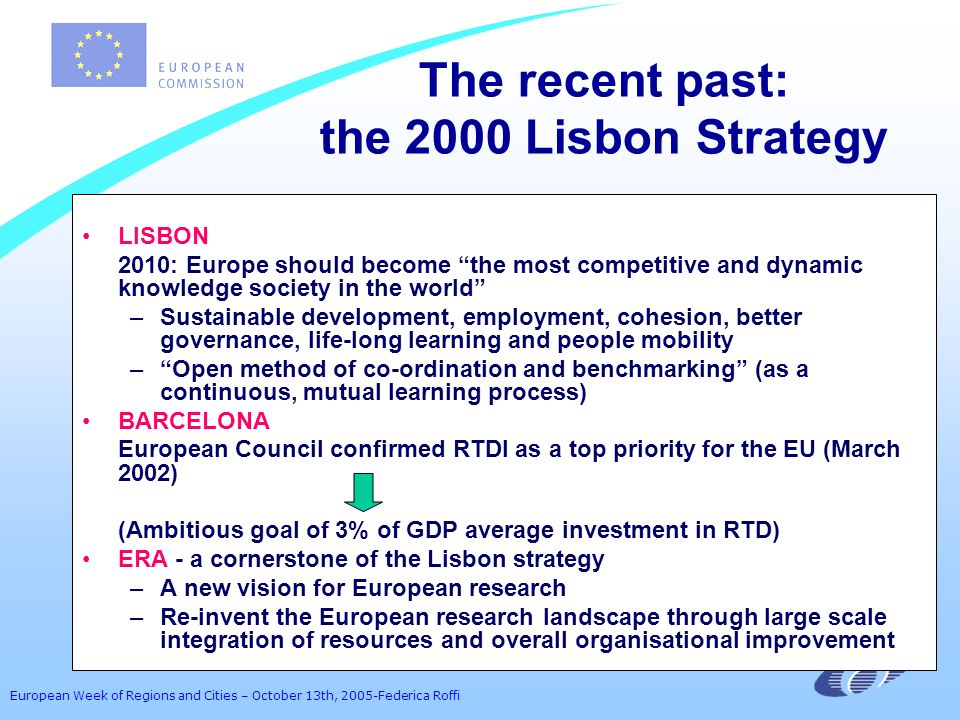 European Week of Regions and Cities – October 13th, 2005-Federica Roffi The recent past: the 2000 Lisbon Strategy LISBON 2010: Europe should become the most competitive and dynamic knowledge society in the world –Sustainable development, employment, cohesion, better governance, life-long learning and people mobility –Open method of co-ordination and benchmarking (as a continuous, mutual learning process) BARCELONA European Council confirmed RTDI as a top priority for the EU (March 2002) (Ambitious goal of 3% of GDP average investment in RTD) ERA - a cornerstone of the Lisbon strategy –A new vision for European research –Re-invent the European research landscape through large scale integration of resources and overall organisational improvement