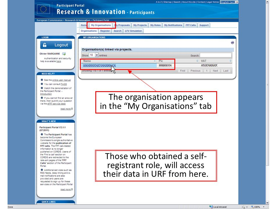 The organisation appears in the My Organisations tab XXXXXXXXXXXXXXXXXXXXXXXXXXXXXX Those who obtained a self- registrant role, will access their data in URF from here.