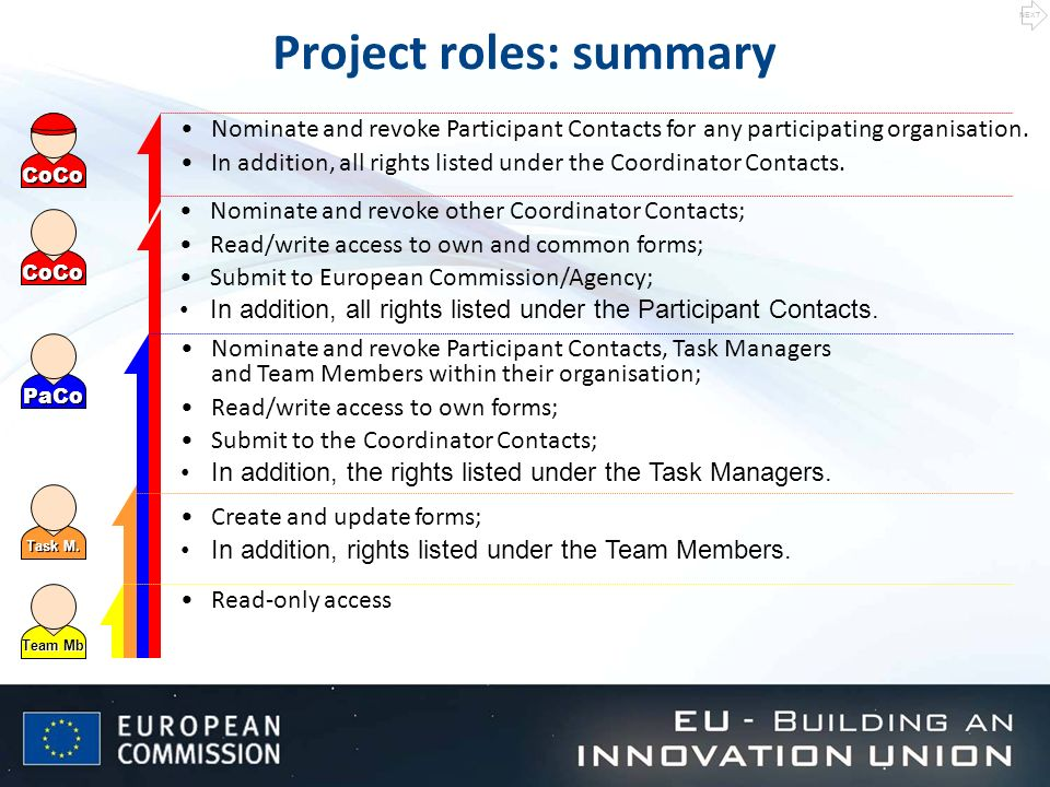 Project roles: summary Team Mb Task M.